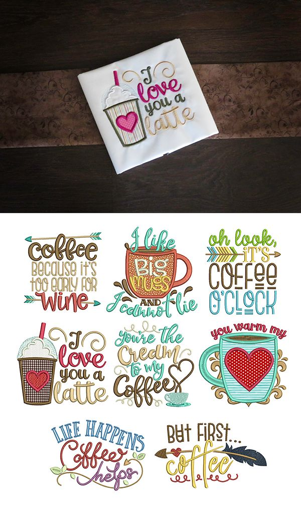 8 more word art designs for your morning cup of joe! Coffee Word Art Set 2  design set available for instant download at designsbyjuju.com