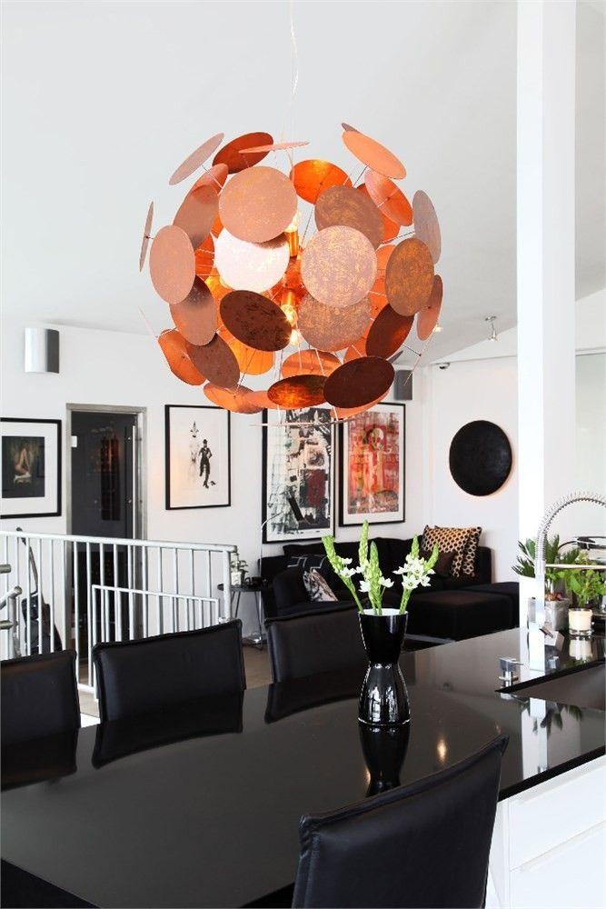 Big copper globe hanging lamp Captain  I Sessak