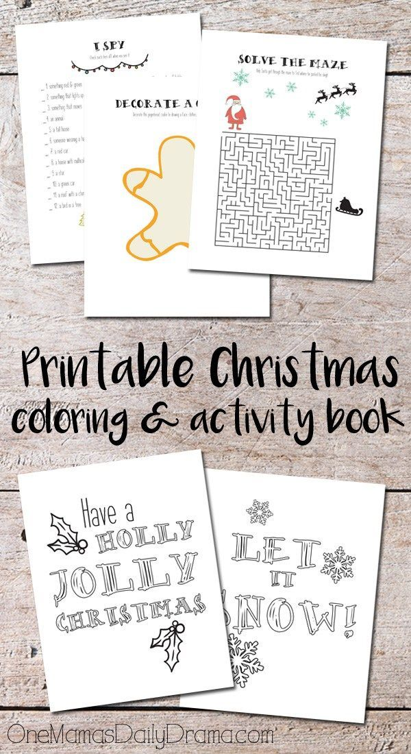 Download this printable Christmas coloring and activity book with a dozen pages of kids activities. Keep the kids entertained during holiday travel or other down time. #Christmasprintable #kidsactivitiesprintable