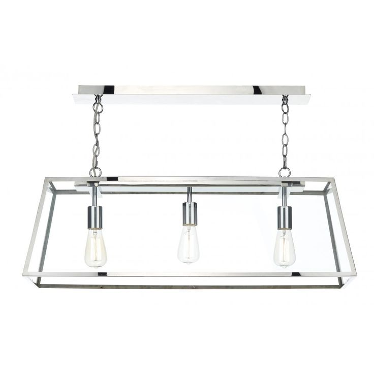 Ambridge Lighting ACADEMY 3 Light Box Pendant With Stainless Steel Frame CodeCAMACA0344 Now GBP