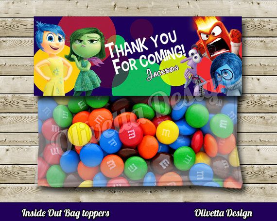 Inside Out Favor Bag Toppers BIRTHDAY party Printable - 2 Models Included! Personalized - Digital File