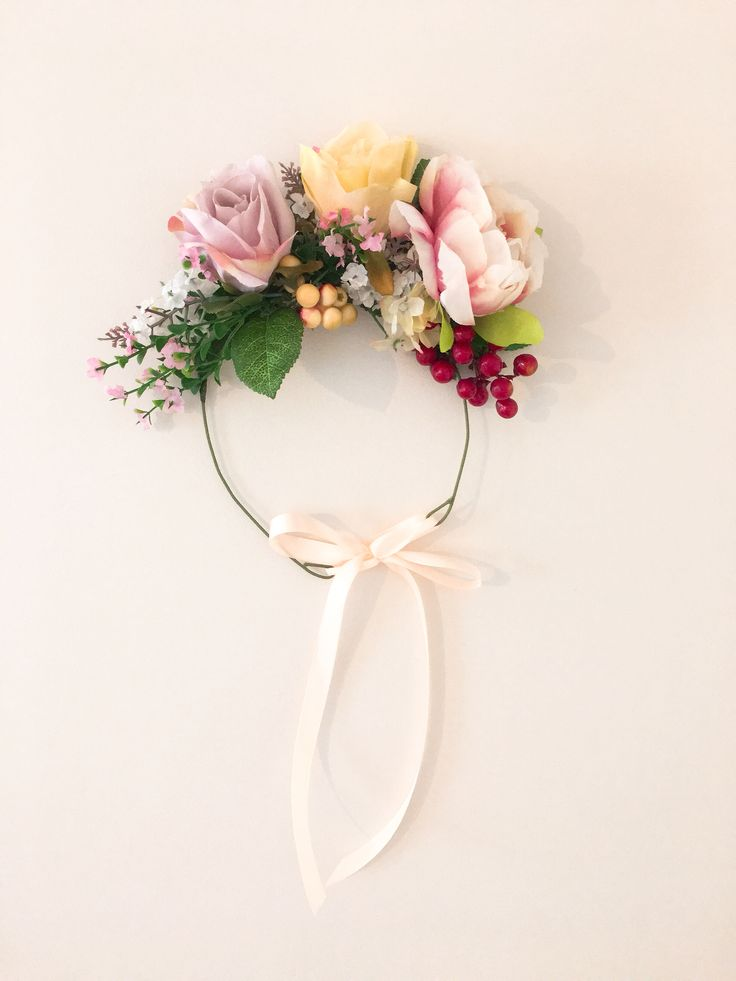Peony and roses floral crown