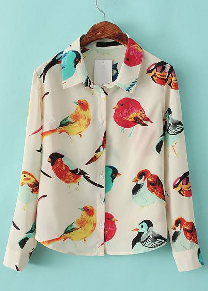 Apricot Lapel Long Sleeve Birds Print Blouse US$25.83sheinside.com