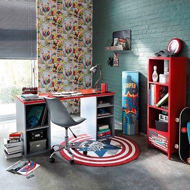 Une chambre ado garçon avec des super-héros