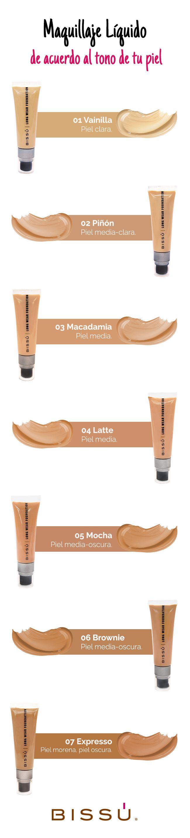 Maquillaje Líquido de acuerdo al tono de tu piel. http://tiendaweb.bissu.com/rostro/205-maquillaje-liquido.html