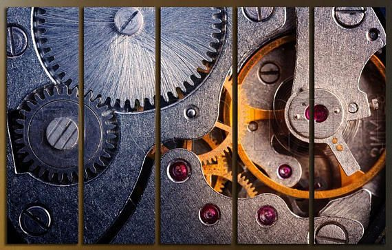 Clock Watch Mechanism Mechanical Gears Movement Diptych