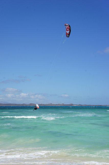 Kitesurfing in Flag Beach, Corralejo, Fuerteventura