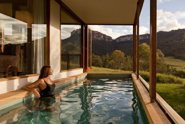 Wolgan Valley Resort & Spa – NSW / 7000 acres of Blue Mountains nature, all for you to explore. Private, Federation-style villas look out over the Wolgan Valley, and each comes with its own private pool. All ingredients plated up at The Wolgan Dining Room are sourced from the surrounding 160 kilometres, including local wines.