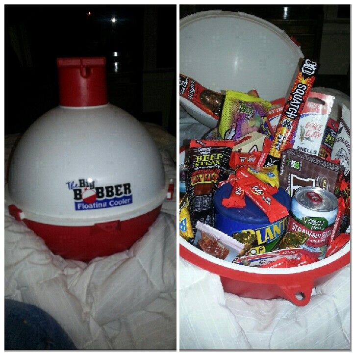 My easter basket for the hubby. A floating cooler filled with bud light margaritas, candy, jerky, and fishing tackle