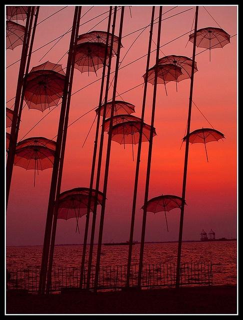 flying umbrellas, port of Salonica