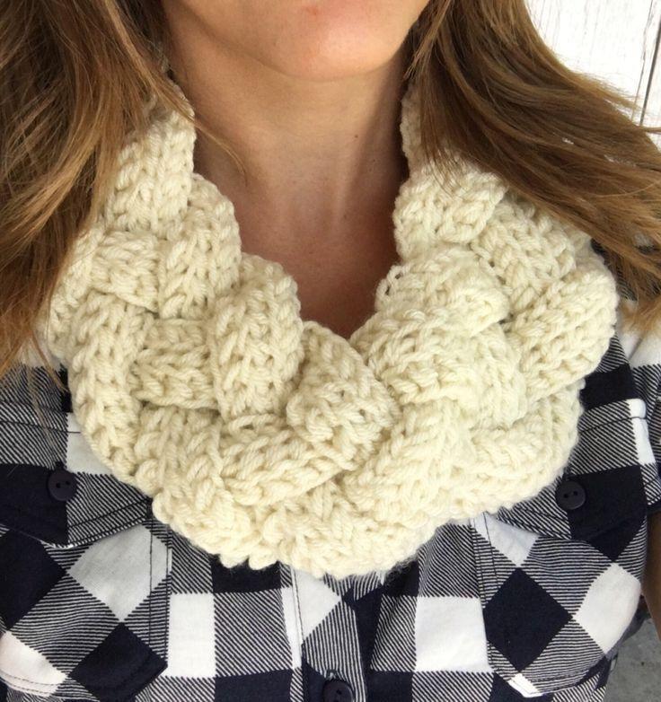 Hand Crochet Braided Off White Infinity Scarf, Braided Scarf, White Fall Scarf, White Scarf, White Knit, White Scarf,Braid Scarf,Twist Scarf by Redbirdjewels on Etsy https://www.etsy.com/listing/458829126/hand-crochet-braided-off-white-infinity