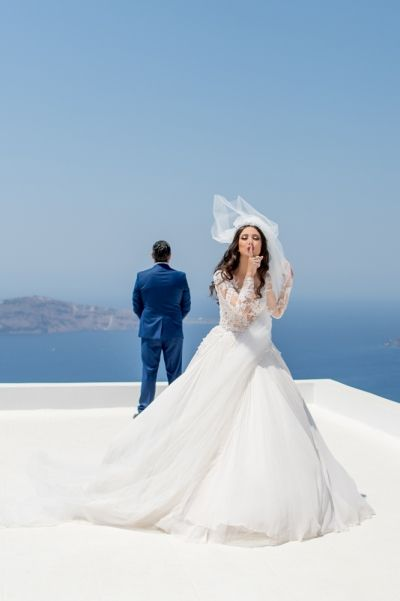 First look with the most breathtaking view! Luxurious Lebanese wedding at Santorini Gem in ivory and rose gold