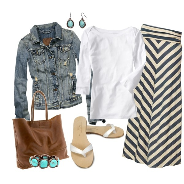 Striped Maxi Skirt: Casual Weekend, Outfits, Summer Fashion, Style, Jeans Jackets, Jean Jackets, Denim Jackets, Chevron Skirt, Maxi Skirts