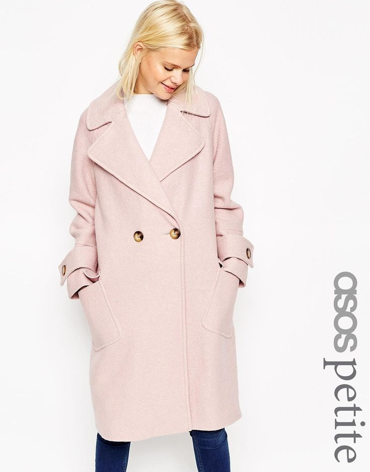 Image 1 ofASOS PETITE Coat in Oversize with Patch Pockets