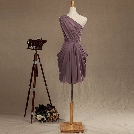 One Shoulder Chiffon Bridesmaid Dress Dusty Purple by harsuccthing