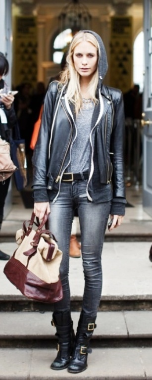 Poppy Delevingne in soft eather and hoodie...and biker boots