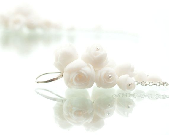 Peony white porcelain and silver  dangle cluster  by MaaPstudio