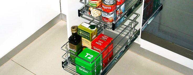 Slide Out Racks For Narrow Kitchen Cabinets #kitchendesign #kitchenideas #storage