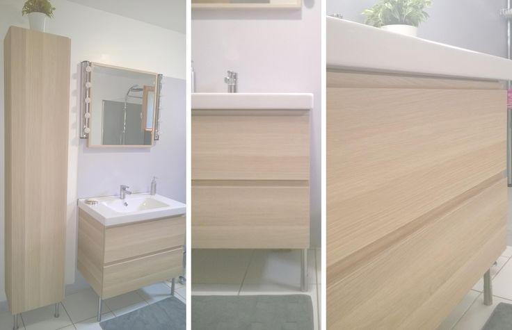 Salle de bain r novation en gris blanc et bois meuble for Vanite salle de bain ikea