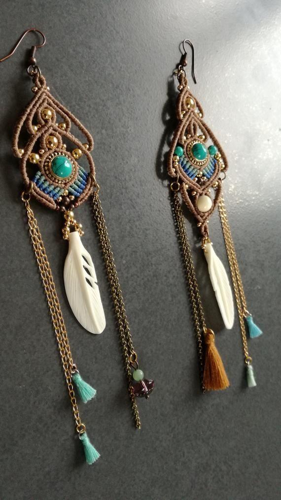 Aretes ohrhänger crema joyas pendiente piedra perlas hippie Boho statement