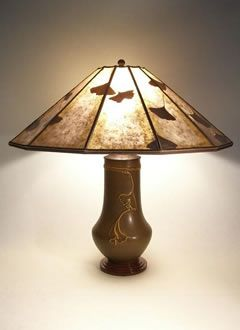 Arts & Crafts Lighting Lonesomeville Pottery Ginkgo Table Lamp, 12-panel Mica shade | Sue Johnson Custom Lamps & Shades