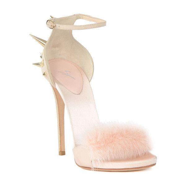Giuseppe Zanotti Pink Fur Heel Sandal (£380) ❤ liked on Polyvore featuring shoes, sandals, heels, giuseppe zanotti, pink sandals, pink heel sandals, pink shoes and heeled sandals