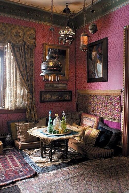 dark and romantic Moroccan style, I love how the rugs are layered! Antique rugs are the best!