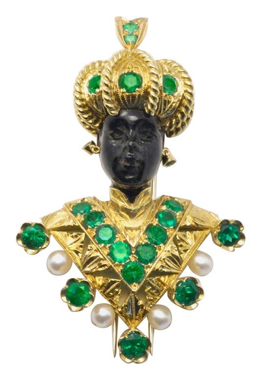 NARDI Emerald Blackamoor Clip Brooch