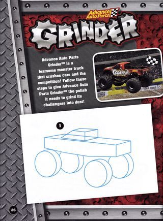 How to Draw Monster Trucks from The Monster Jam Drawing & Activity Book  Are you looking for gift ideas for little ones? Why not get them a drawing book like Monster Jam & Activity Book: A monster assortment of exciting games, activities, trivia, drawing projects, and more that features tutorials like these first basic steps on how to draw the monster truck Grinder.