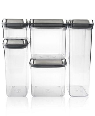 OXO Pop Food Storage Containers, Set of 5 Stainless Steel Canisters
