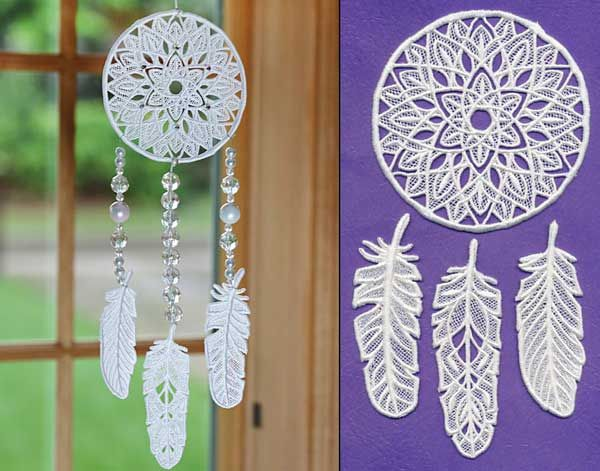 Dream Catcher and Feathers (Lace) design (X12531) from www.Emblibrary.com