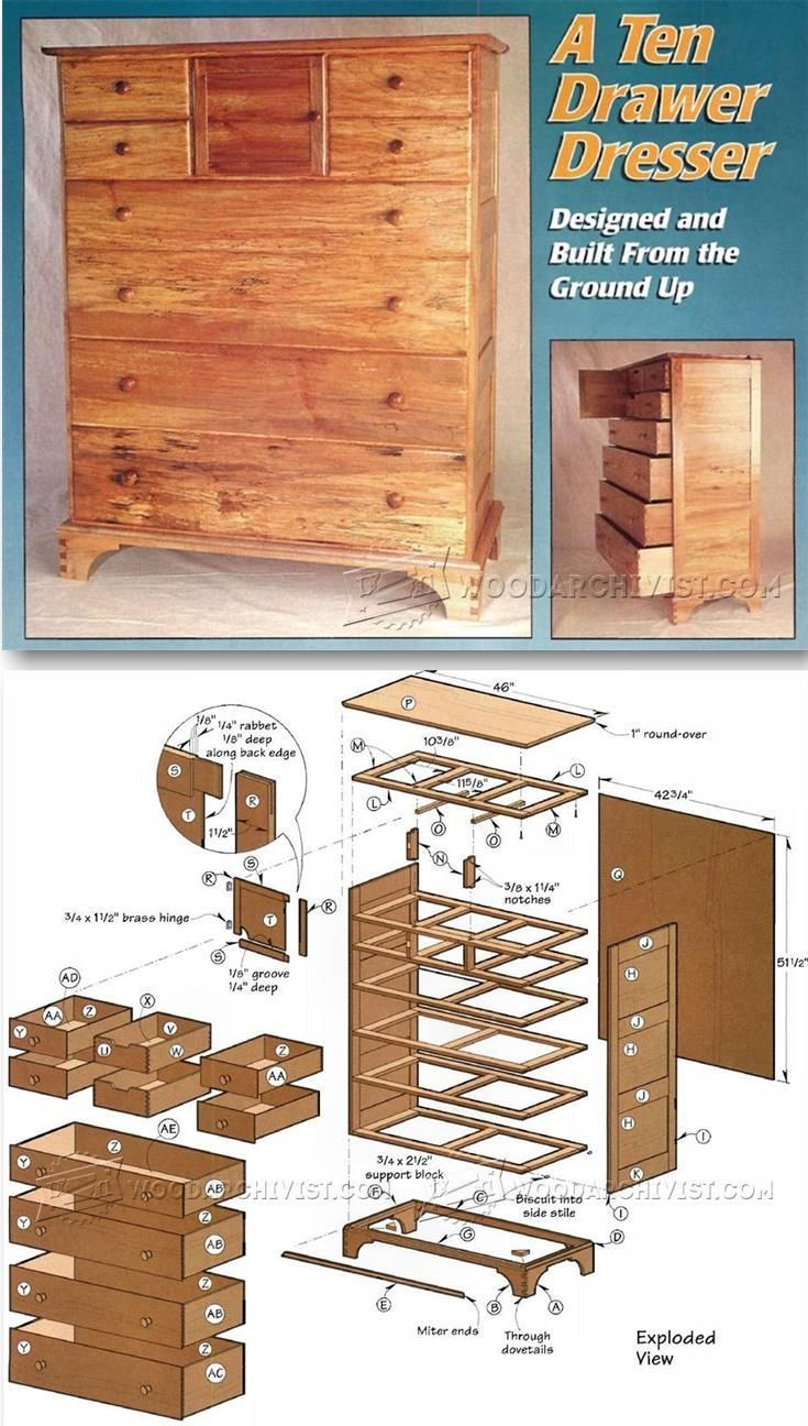 Drawer Dresser Plans - Furniture Plans and Projects | WoodArchivist.com