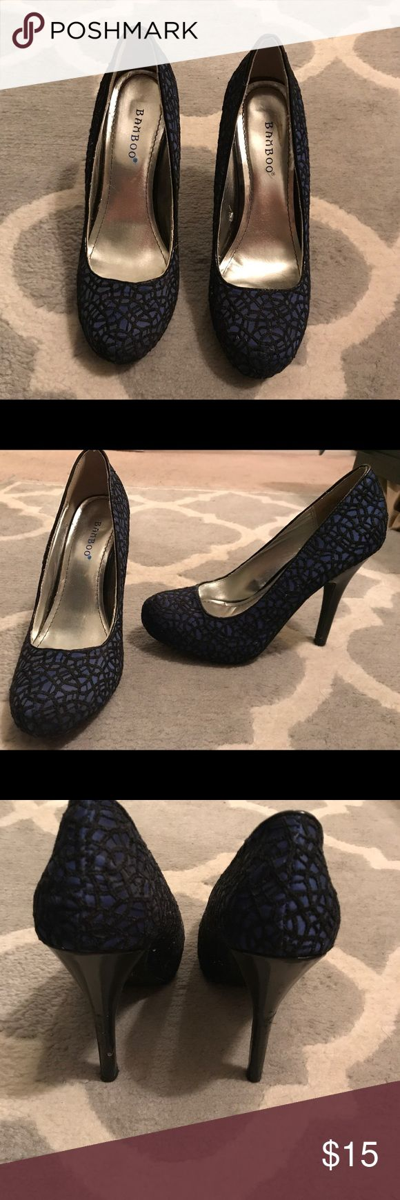 Womens' size 7.5 bamboo navy/black pumps Bamboo brand, size 7.5 navy satin with black embroidery detail in a lace pattern. Lightly worn. A few little knicks in the heel as shown in picture. Make me an offer  BAMBOO Shoes Heels