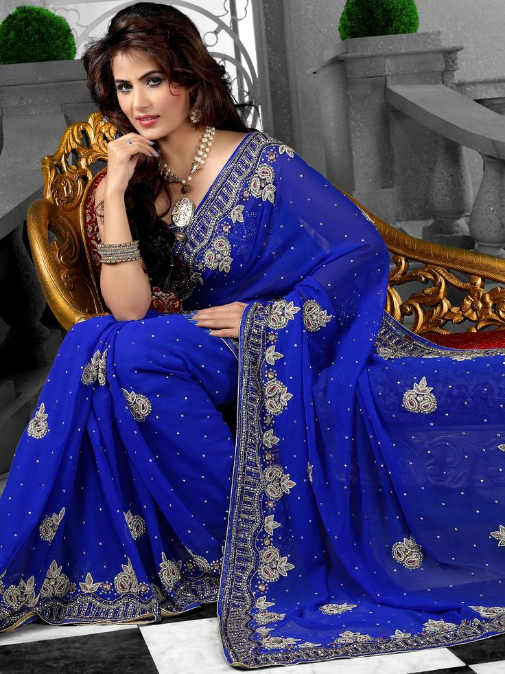 Pretty for a formal occasion. Blue women's saree from Utsav