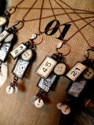 Copper  Glass and Recycled Trash  Stitching Memories Necklace by Tracy Bell