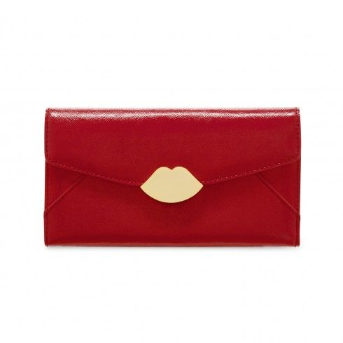 Red Leather Large Envelope Wallet   Totes   Handbags   Lulu Guinness