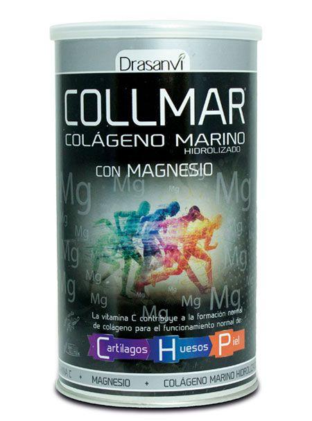 COLLMAR  MAGNESIO 300GR Descripción: Es un complemento alimenticio a base de colágeno marino hidrolizado, enriquecido con vitamina C vitamina necesaria para que el colágeno se sintetice correctamente, y magnesio (en forma de carbonato).