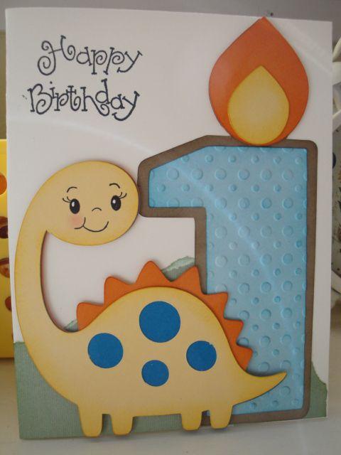 My Grandson's 1st birthday card using Create a Critter and Sweet Treats cricut cartridge