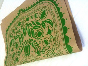 screen printed wrapping paper