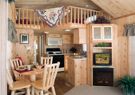 Cabin Park Models By Forest River Nice Kitchen Fireplace And Loft