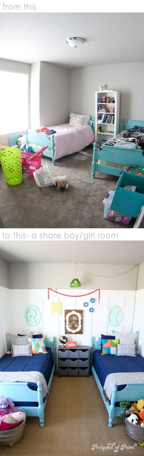 before and after- A shared boy/girl room   ||  Pocketful of Paint / Urban Post on Etsy