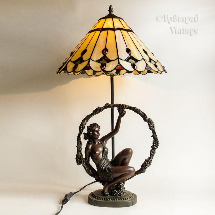 Vintage 1990s spelter semi nude goddess figurine tiffany style lamp light shade in full