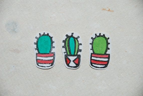 Tiny Handstamped and Painted Cactus Sticker Set (3pcs.)