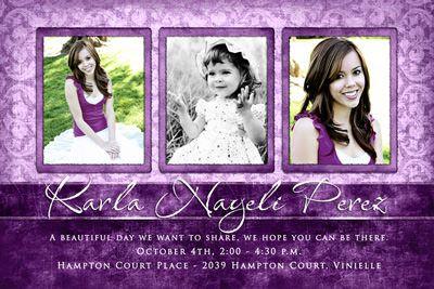 sweet 16 save the dates photo ideas   Beautiful Young Woman's Photo Invitation - Sweet 15 Purple