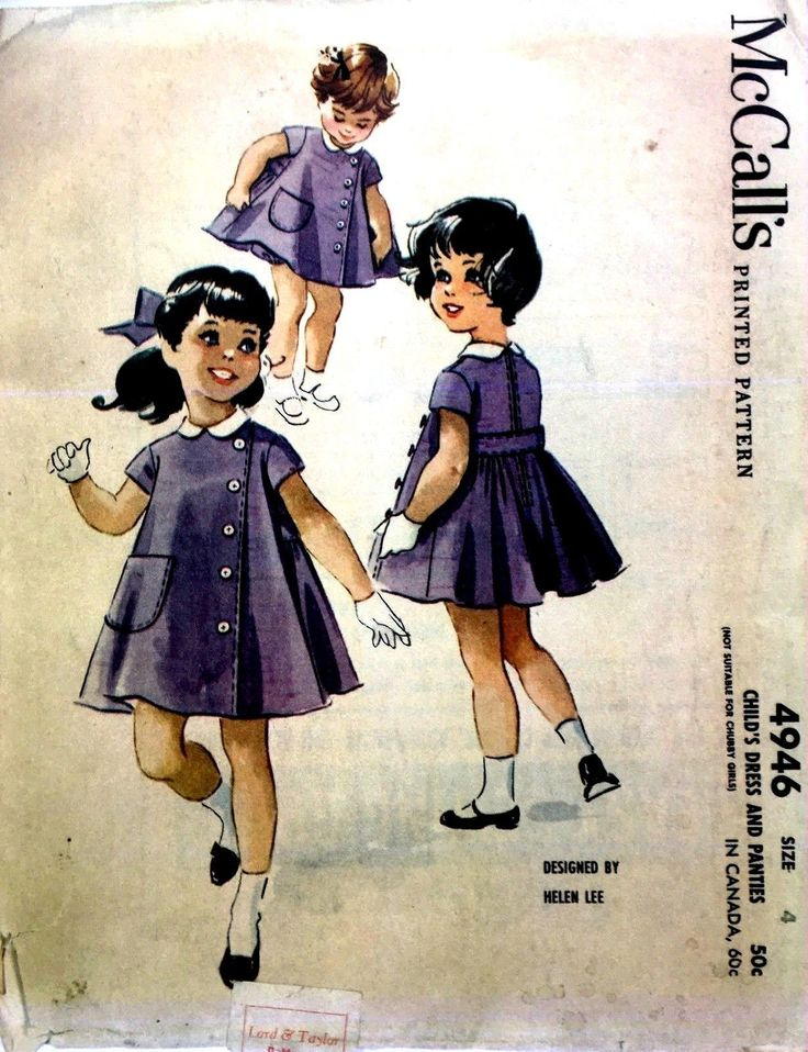 A very rare sewing pattern dating from 1959: Child's Dress and Panties - Designed by Helen Lee: Child's dress and separate bloomer panties. Tuck and button trimming on left side of front, patch pocket on right side of front. | eBay!