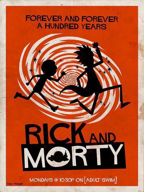 Rick and Morty fan art in the style of Saul Bass.