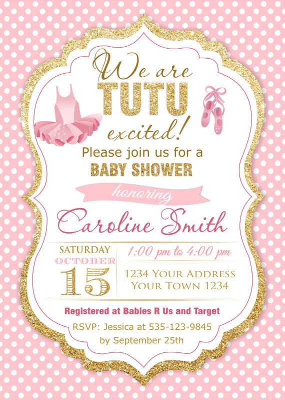 Girls Baby Shower Invitations. Tutu Baby Shower Invitations.