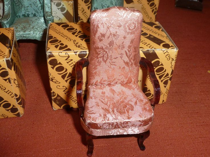 Vintage Concord Miniature Pink Brocade Dining Room Chair With Arms