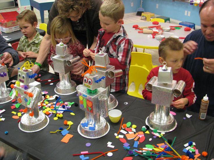 DIY robots - birthday activity idea! Great for interactive themes.  #boysbirthdaygames