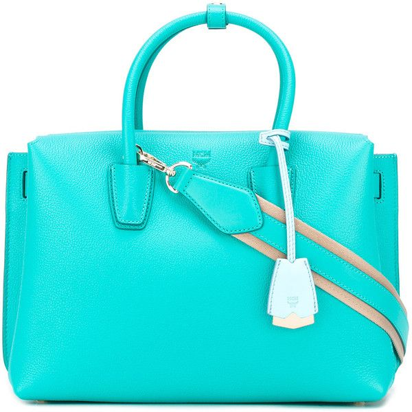 MCM detachable strap tote (€780) ❤ liked on Polyvore featuring bags, handbags, tote bags, blue, blue tote, tote hand bags, tote purses, blue tote bag and handbags totes